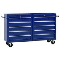 vidaXL Chariot à outils avec 10 tiroirs Acier Bleu