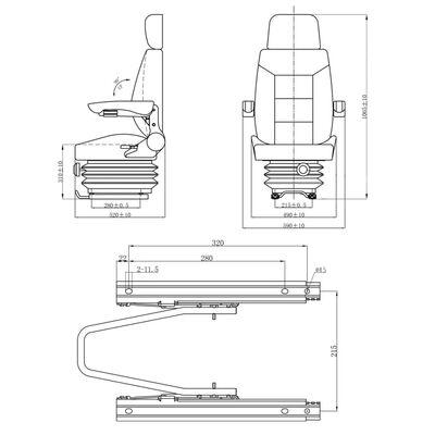 vidaXL Siège de tracteur avec suspension