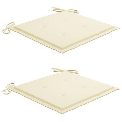 vidaXL Chaise à bascule avec coussin crème Bois de teck solide