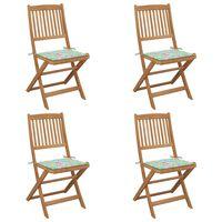 vidaXL Chaises pliables de jardin 4 pcs avec coussins Bois d'acacia