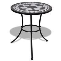 vidaXL Table de bistro Noir et blanc 60 cm Mosaïque