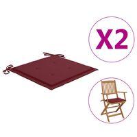 vidaXL Coussins de chaise de jardin 2 pcs Bordeaux 40x40x4 cm Tissu