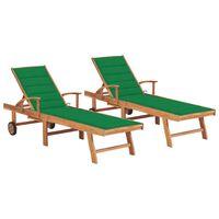 vidaXL Chaises longues 2 pcs avec coussin vert Bois de teck solide
