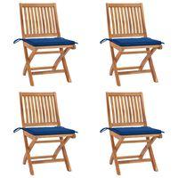 vidaXL Chaises pliables de jardin avec coussins 4 pcs Teck solide