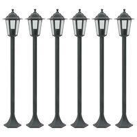 vidaXL Lampe de jardin à piquet 6 pcs E27 110 cm Aluminium Vert foncé