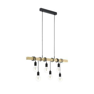 EGLO Lampe suspendue TOWNSHEND 6x25 W Noir et marron 95499