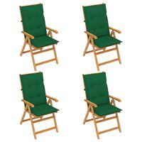 vidaXL Chaises de jardin 4 pcs avec coussins vert Bois de teck massif