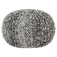 vidaXL Pouf tricoté à la main Gris foncé 50x35cm Tissu Aspect de laine