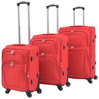 vidaXL Jeu de valises souples 3 pcs Rouge