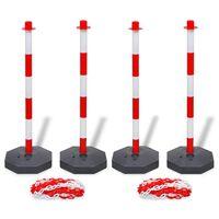 vidaXL Jeu de 4 poteaux à chaîne et 2 chaînes en plastique 10m chacune