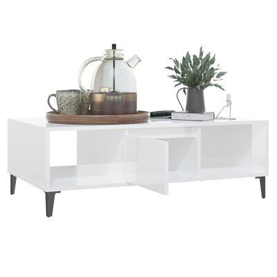 vidaXL Table basse Blanc brillant 103,5x60x35 cm Aggloméré
