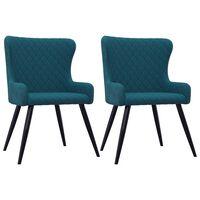 vidaXL Chaises de salle à manger 2 pcs Bleu Velours