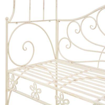 vidaXL Banc de jardin 122 cm Fer Blanc antique