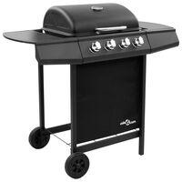 vidaXL Barbecue gril à gaz avec 4 brûleurs Noir