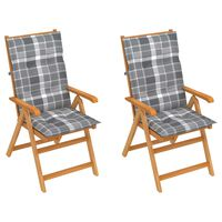 vidaXL Chaises de jardin 2 pcs avec coussins à carreaux gris Teck