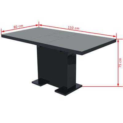 vidaXL Table extensible de salle à manger Noir brillant