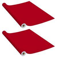 vidaXL Films autoadhésifs pour meubles 2 pcs Rouge 500x90 cm PVC