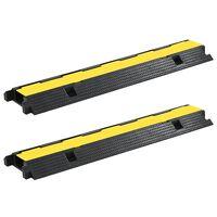 vidaXL Rampe de protection de câble 2 pcs 1 canal caoutchouc 100 cm