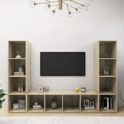 vidaXL Meubles TV 3 pcs Chêne sonoma 142,5x35x36,5 cm Aggloméré