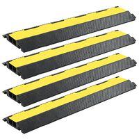 vidaXL Rampe de protection de câble 4 pcs 2 canaux caoutchouc 101,5 cm