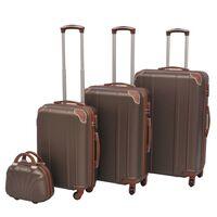 vidaXL Ensemble de valises à roulettes quatre pièces couleur café