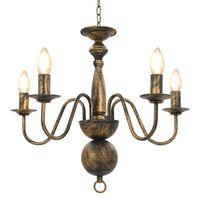 vidaXL Lustre Noir antique 5 ampoules E14