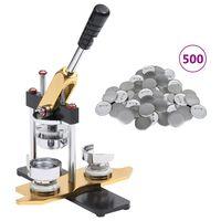 vidaXL Machine à badges avec 500 pièces de bouton à épingle 25 mm