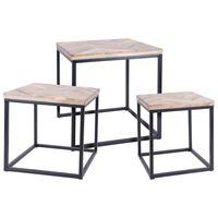 Ambiance Ensemble de tables d'appoint 3 pcs Teck