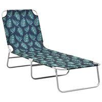 vidaXL Chaise longue pliable Acier et tissu Motif de feuilles