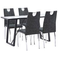 vidaXL Ensemble de salle à manger 5 pcs Noir Similicuir