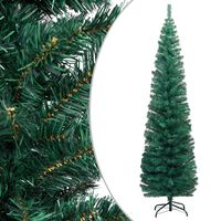 vidaXL Sapin de Noël artificiel mince avec support Vert 240 cm PVC