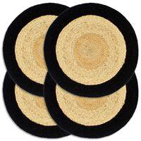 vidaXL Napperons 4 pcs Naturel et noir 38 cm Jute et coton