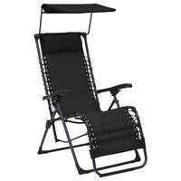 vidaXL Chaise pliable de terrasse Textilène Noir