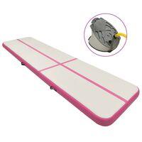 vidaXL Tapis gonflable de gymnastique avec pompe 600x100x15cm PVC Rose