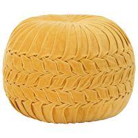 vidaXL Pouf Velours de coton Design de sarrau 40 x 30 cm Jaune