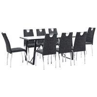vidaXL Ensemble de salle à manger 9 pcs Noir Similicuir