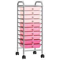 vidaXL Chariot de rangement mobile à 10 tiroirs Ombre Rose Plastique