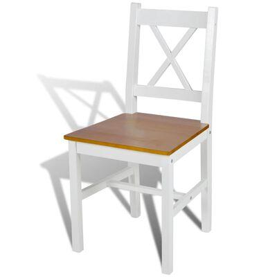 vidaXL Chaises de salle à manger 2 pcs Blanc Bois de pin