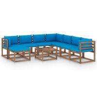 vidaXL Salon de jardin 9 pcs avec coussins Bleu clair