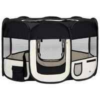 vidaXL Parc pliable pour chien avec sac de transport Noir 125x125x61cm