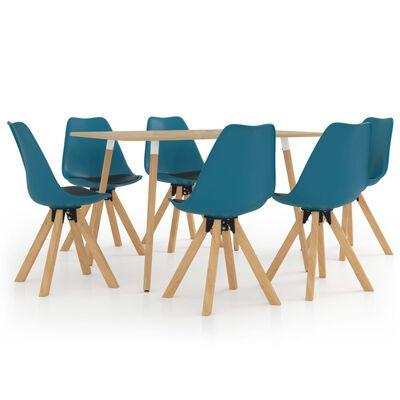 vidaXL Ensemble de salle à manger 7 pcs Turquoise et noir