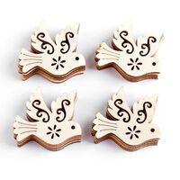 10 pièces pièces en bois de pigeon de paix inachevées -