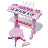 vidaXL Clavier jouet d'enfants et tabouret/microphone 37 touches Rose