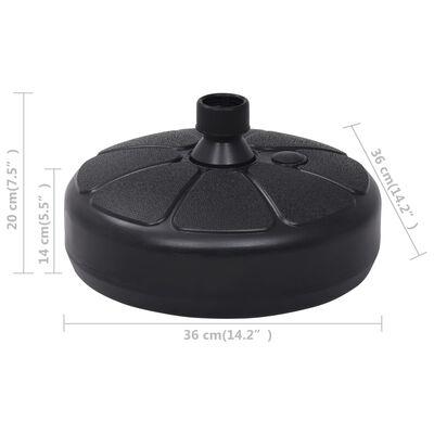 vidaXL Socle de parasol Rempli de sable/d'eau 15 L Noir
