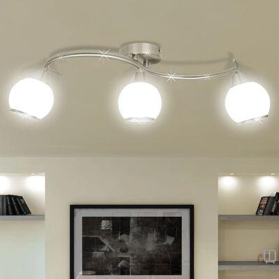 vidaXL Plafonnier avec abat-jour en verre sur rail pour 3 ampoules E14