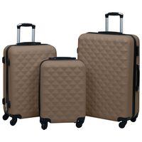 vidaXL Ensemble de valises rigides 3 pcs Marron ABS