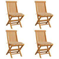 vidaXL Chaises de jardin avec coussins beige 4 pcs Bois de teck massif