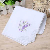 Mouchoir en dentelle brodée de coton vintage 6pcs - mouchoir floral