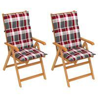 vidaXL Chaises de jardin 2 pcs avec coussins à carreaux rouge Teck