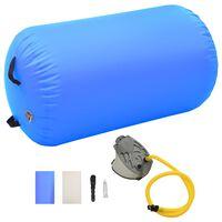 vidaXL Rouleau gonflable de gymnastique avec pompe 100x60 cm PVC Bleu